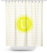 Good4Life [ U - INITIAL ] Name Monogram Polyester Fabric Bathroom Decor Shower Curtain Set with Hooks [ Polka Dots ]