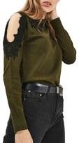 Topshop Lace Trim Cold Shoulder Sweater