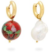 Timeless Pearly - Mismatched Baroque Pearl And Cloisonne Earrings - Womens - Red Multi
