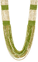 Natasha Accessories Multi Row Color Block Bead Necklace