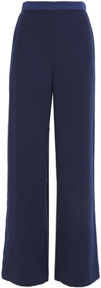 Diane von Furstenberg Satin-trimmed Crepe Wide-leg Pants