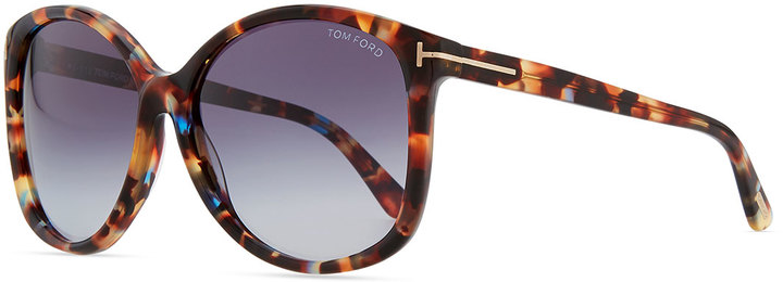 Tom Ford Alicia, Angled Round Sunglasses, Violet Havana