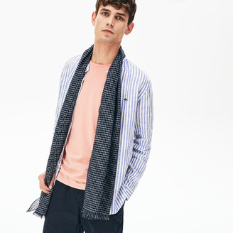 Lacoste Men's Cotton And Linen Rectangular Check Scarf