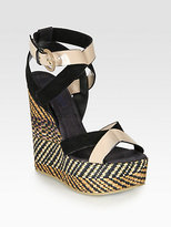 Pollini Patent Leather & Suede Woven Wedge Sandals