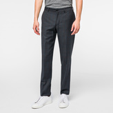 Paul Smith Men's Mid-Fit Grey Windowpane-Check Wool Trousers