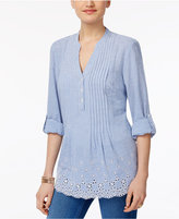 Style&Co. Style & Co Petite Cotton Pleated Eyelet-Hem Top, Only At Macy's