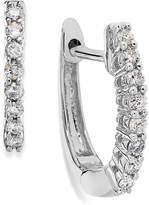 Macy's 10k White Gold Diamond Mini Hoop Earrings (1/8 ct. t.w.)