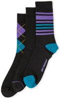 Ben Sherman 3-Pack Stripe & Argyle Crew Socks
