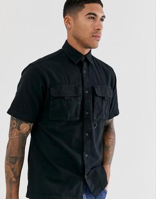 Jack and Jones Core utility pocket short sleeve shirt in black