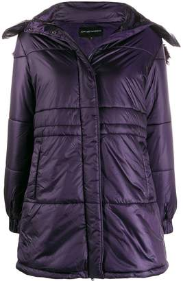 Emporio Armani single-breasted hooded coat