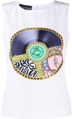 Boutique Moschino Vinyl Record Print Vest