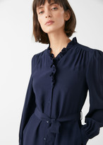 And other stories Gathered Button Up Frill Midi Dress