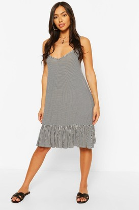 boohoo Strappy Swing Dress With Ruffle Hem
