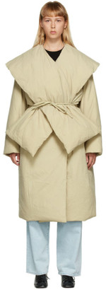AMOMENTO Beige Down Detachable Muffler Puffer Coat