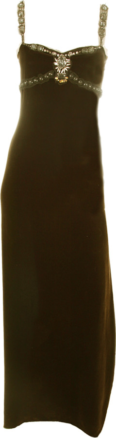 Lanvin Velvet Beaded Detail Gown