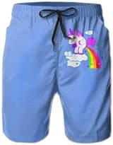 FayBrook Men's Unicorn Pooping Rainbow Board Shorts Swim Trunks
