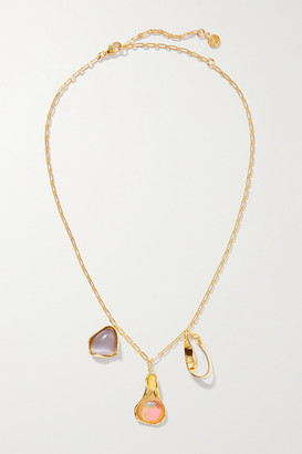 EJING ZHANG Dyce Gold-plated Resin And Cat's Eye Necklace - one size