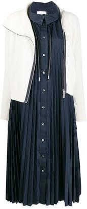 Sacai contrast layered midi dress