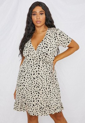 Missguided Plus Size Nude Dalmatian Print Wrap Dress