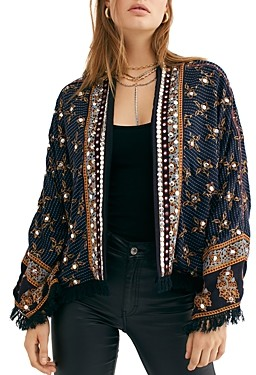 Free People Ray Of Light Embellished Fringe Trim Jacket
