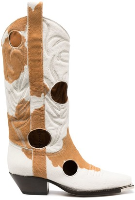Off-White Two-Tone Cowboy Boots