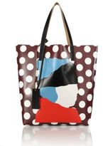 Marni Etka Print Polka Dot Leather Shopping Bag