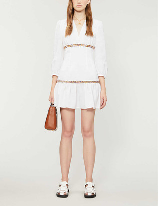 Sandro Glory ruffled ramie midi dress
