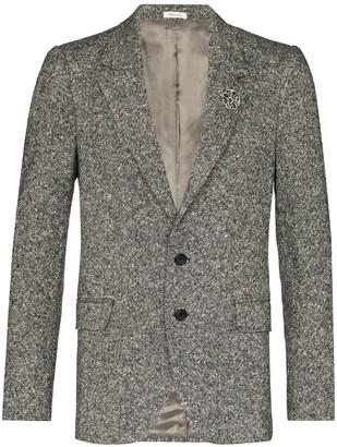 Alexander McQueen Brooch-Embellished Tweed Blazer