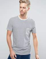 Selected T-Shirt with Stripe an Pocket in Linen Mix