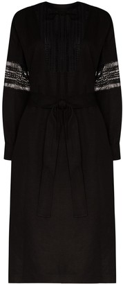 Low Classic Belted Perforated Midi Dress
