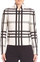 Akris Punto Wool Ruched-Collar Check Jacket
