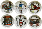 One Kings Lane Vintage Mid-Century Fornasetti-Style Coasters - The Emporium Ltd. - white/black/blue/yellow/red/green/orange/brown