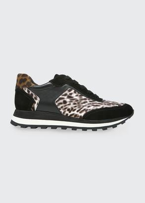 Veronica Beard Hartley Leopard-Print Mixed Media Trainer Sneakers