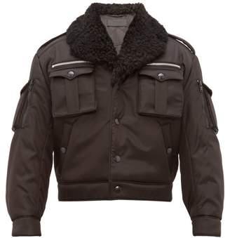 Prada Shearling Collar Flight Jacket - Mens - Black