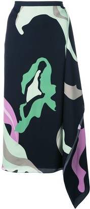 Tibi Ant Farm Print Asymmetric Skirt