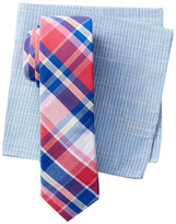 Original Penguin Clive Plaid Tie & Pocket Square Set