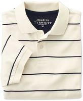 Charles Tyrwhitt Classic Fit White and Navy Striped Pique Cotton Polo Size XXL