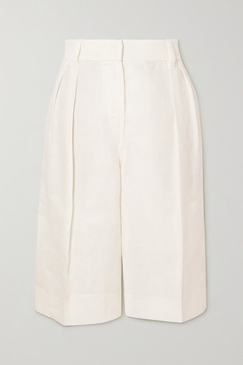 Brunello Cucinelli Pleated Linen-twill Shorts - White