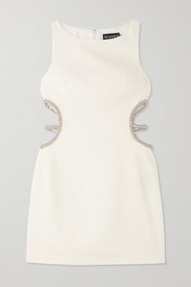 HANEY Roselyn Cutout Crystal-embellished Cady Mini Dress - White