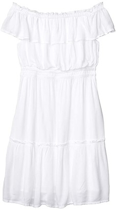 Tommy Bahama Caicos Crinkle Off-the-Shoulder Short Dress (White) Women's Clothing
