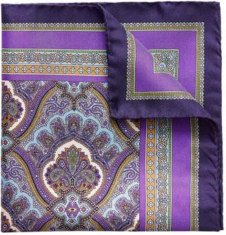 Eton Purple Paisley Print Pocket Square