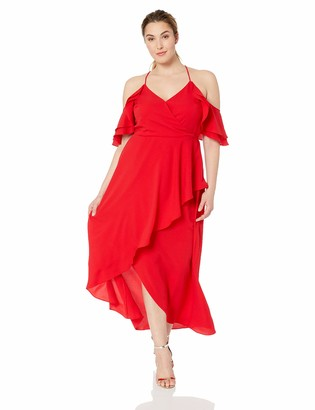 City Chic Women's Apparel Women's Plus Size Off Shoulder Cocktail Maxi Dress with Soft Frill