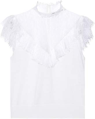 Alice + Olivia Beth Ruffle-trimmed Chantilly Lace And Stretch-wool Top