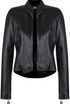Martha Medeiros open front leather jacket