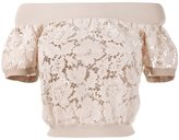 Valentino heavy lace top - women - Viscose/Polyester - M