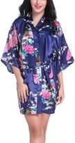 FAYBOX Bridesmaid Peacock Short Kimono Robe Wedding Satin Silk Sleepwear XL