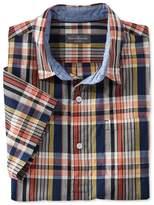 L.L. Bean L.L.Bean Signature Summer Indigo Madras Popover Shirt, Short-Sleeve Plaid