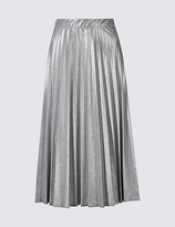 M&S Collection Pleated Metallic A-Line Midi Skirt