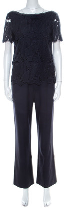 Tory Burch Navy Blue Avalon Lace Short Sleeve Jumpsuit S