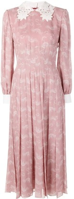 Fendi pleated longsleeved dress